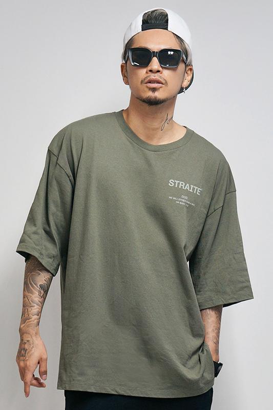 【予約商品】アースカラースリットビッグTシャツ [STRAITE]