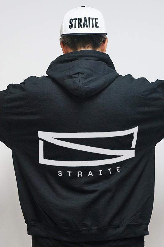 【予約制】レクタングルロゴブラックパーカー [STRAITE]