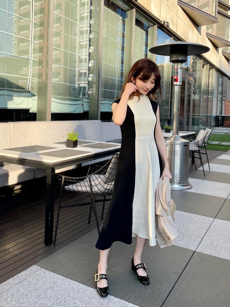 ST.ROONEY /水野佐彩さんコラボ バイカラーニットワンピース