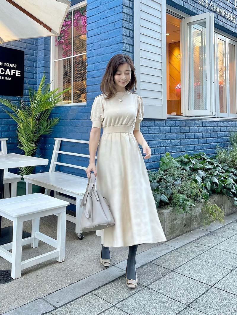 ST.ROONEY /水野佐彩さんコラボ パフスリーブニットワンピース