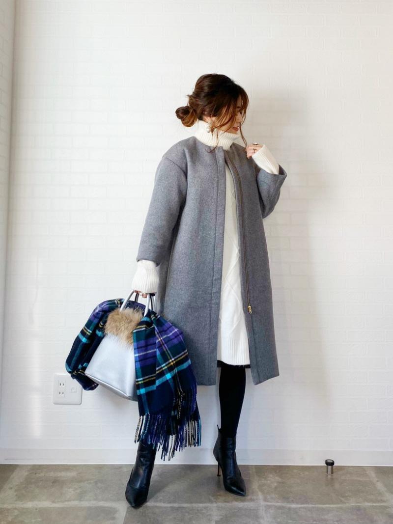 ST.ROONEY /@ma_anmiさんコラボ小柄女性のためのノーカラーウールコート