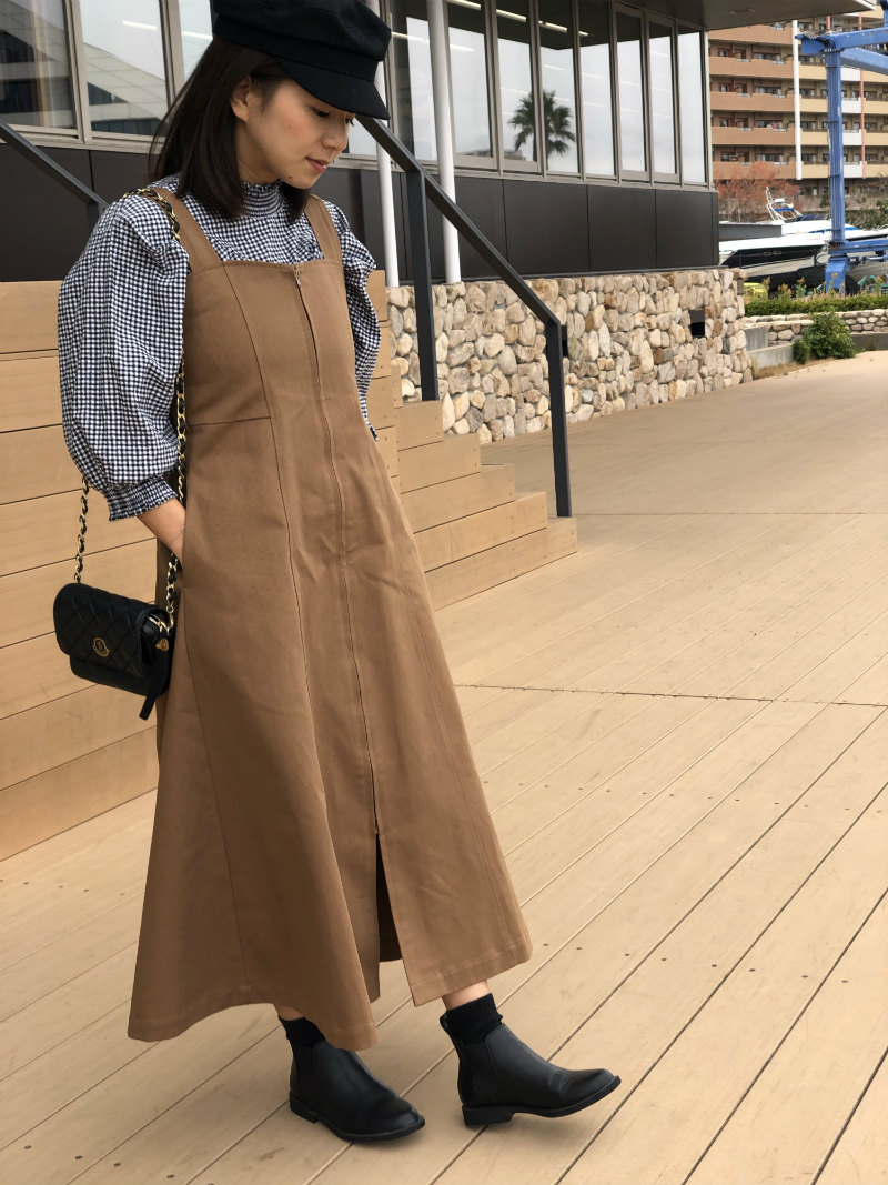 ST.ROONEY /小柄女性をスタイルアップ フロントジップジャンパースカート