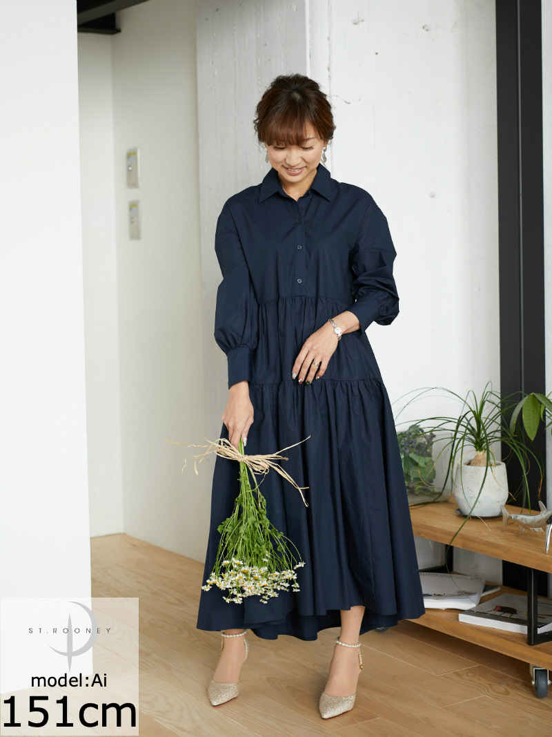 ST.ROONEY/低身長の女性で映える ティアードシャツワンピース
