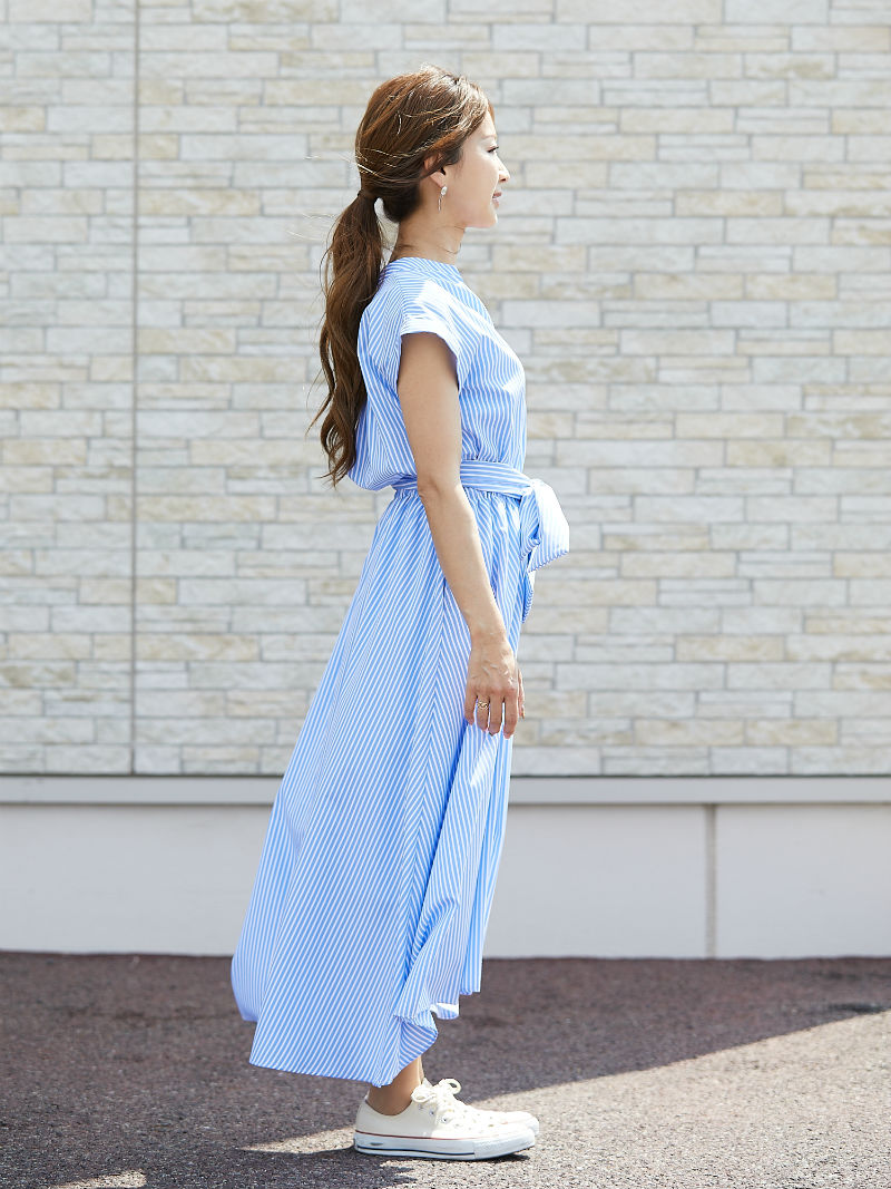 ST.ROONEY /小柄エレガンス ストライプシャツワンピース