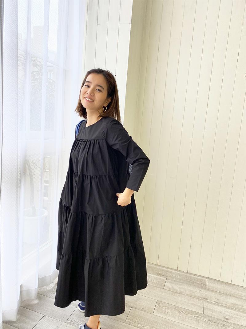 ST.ROONEY /小柄専用ロング丈 長袖ティアードマキシワンピース