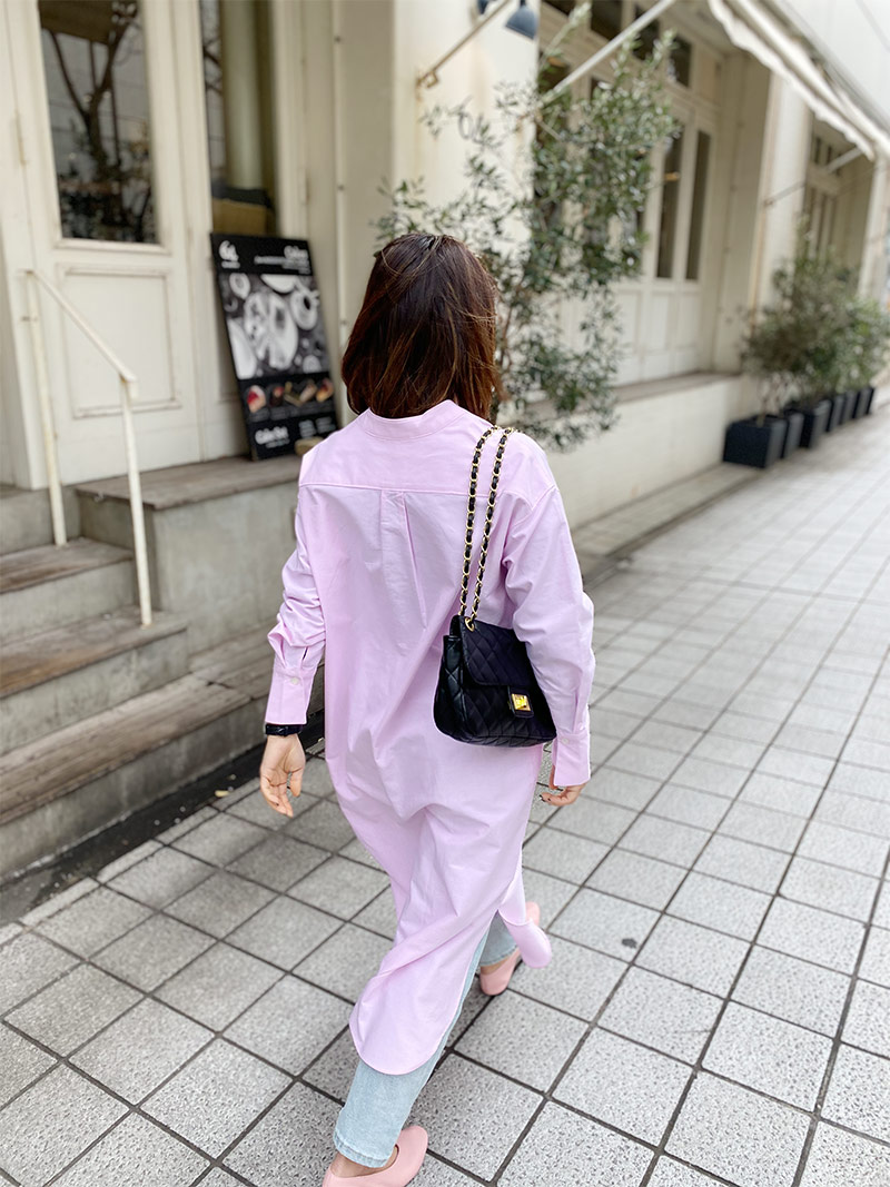 ST.ROONEY/小柄カジュアル スタンドカラーシャツワンピース