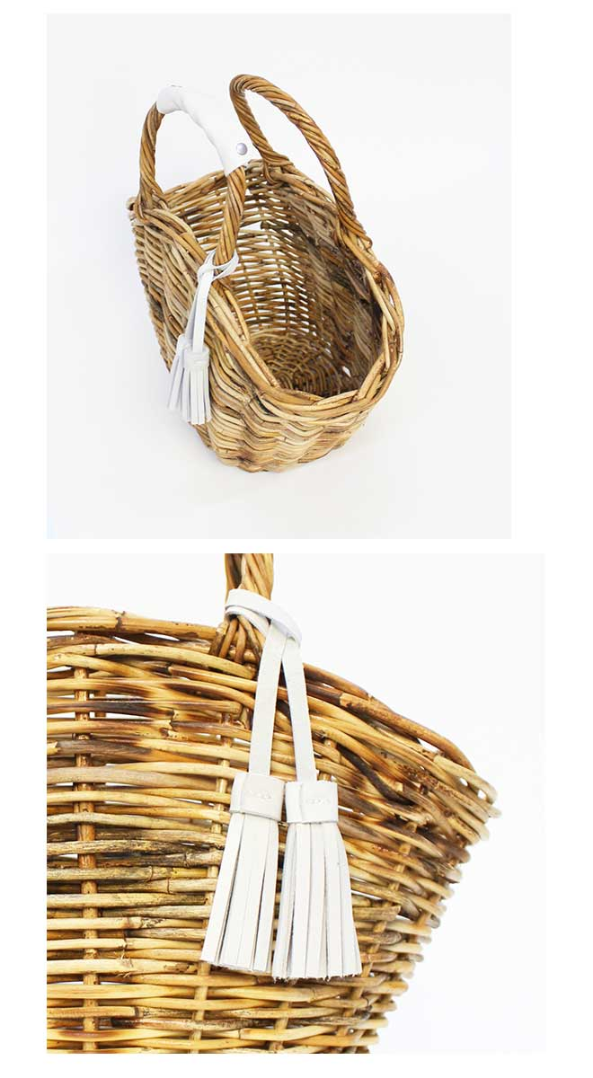 レザーハンドル  タッセル付かごバッグ NINAS BAG(L) [Leather handle, Tassel with a basket bag]