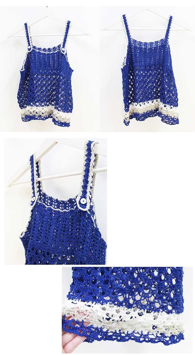 ベルギー リネン手芸糸 フリー編み図『Graceで編む KID's キャミソール』