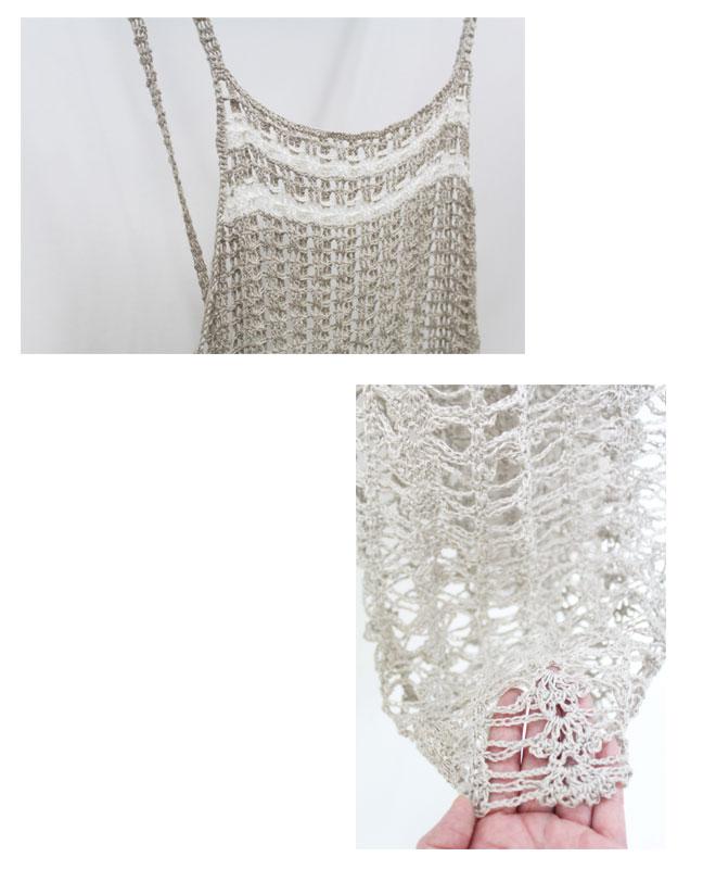 ベルギー・コルトレイクリネン100%手芸糸  『コルトレイクリネン sophie (ソフィー) 400g, エプロンドレス』編み図と糸のキット