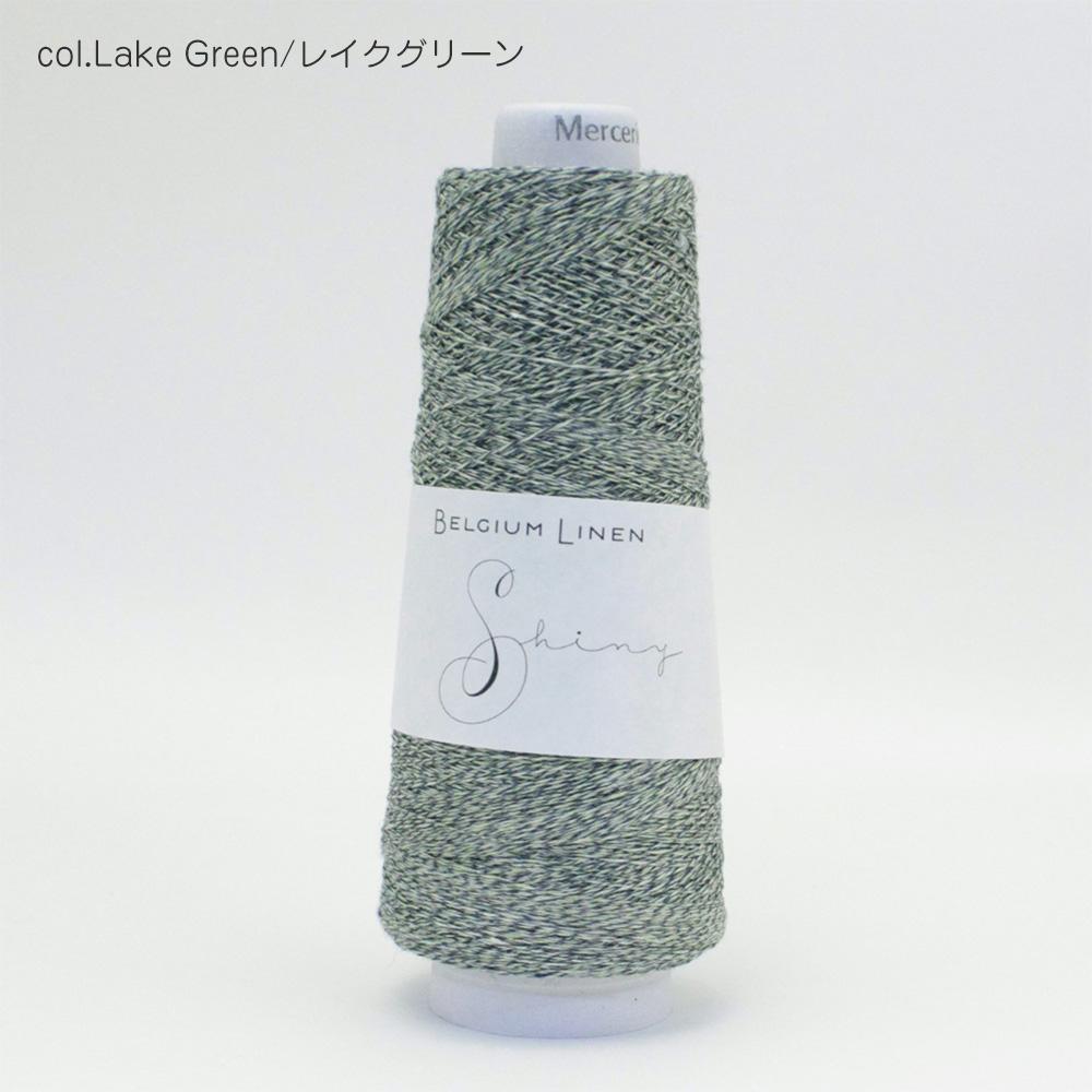 ベルギーリネン・メランジ手芸糸 『SHINY(シャイニー)前後差Vネックプルオーバー』サイズ(2)編み図と糸のキット
