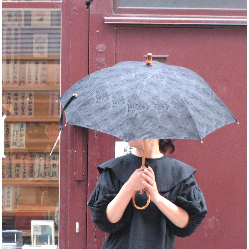 SUR MER(シュールメール) レース 花柄 パラソル(日傘) 長傘 ブラック