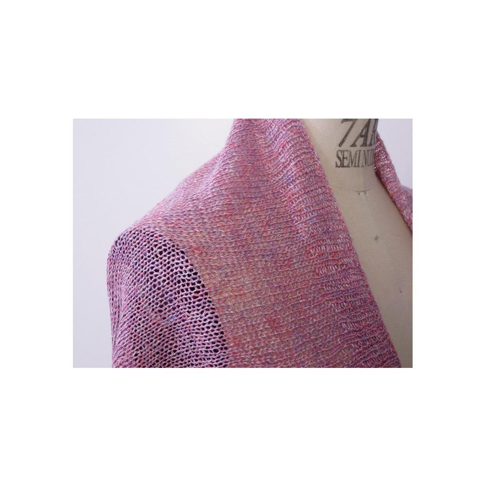 ベルギーリネン・メランジ手芸糸 『SHINY(シャイニー)2wayケープカーデ』編み図と糸のキット
