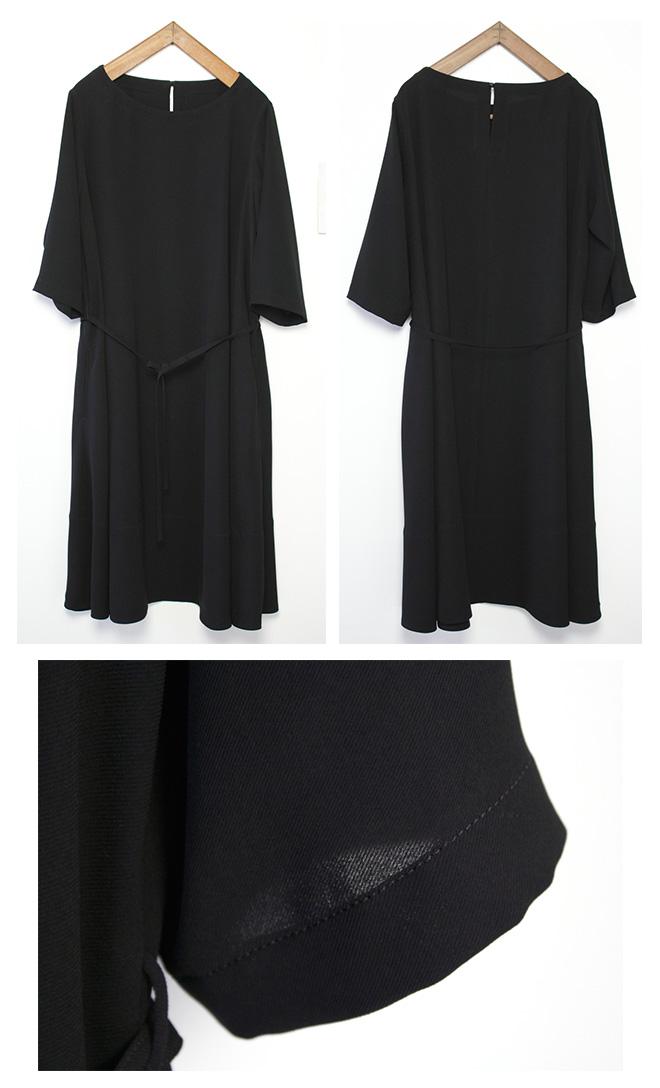 ゆったりシルエット【サイズ 1】 Gling Glo: フォーマルブラック生地使用 ボートネックAラインワンピース [Boat neck A line one-piece dress. size 1]