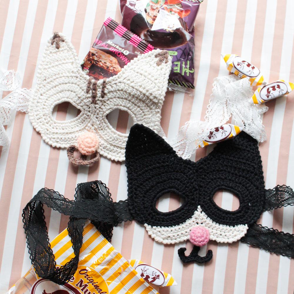 ◆ 糸と編み図のセット◆コットンカシミヤ 手芸糸「Gently(ジェントリー)」使用 『猫たち仮面』KIT