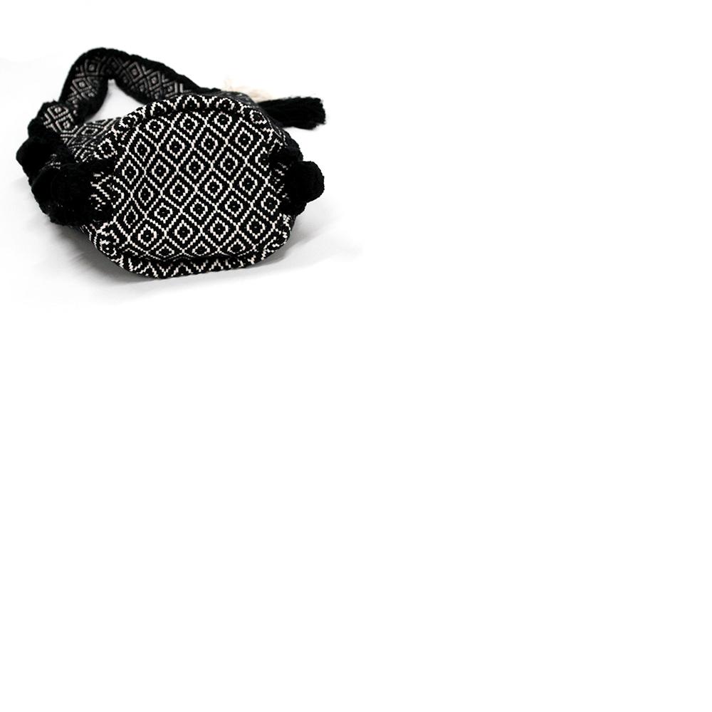 Swaraji 幾何学模様バケツ型PONPONバッグ