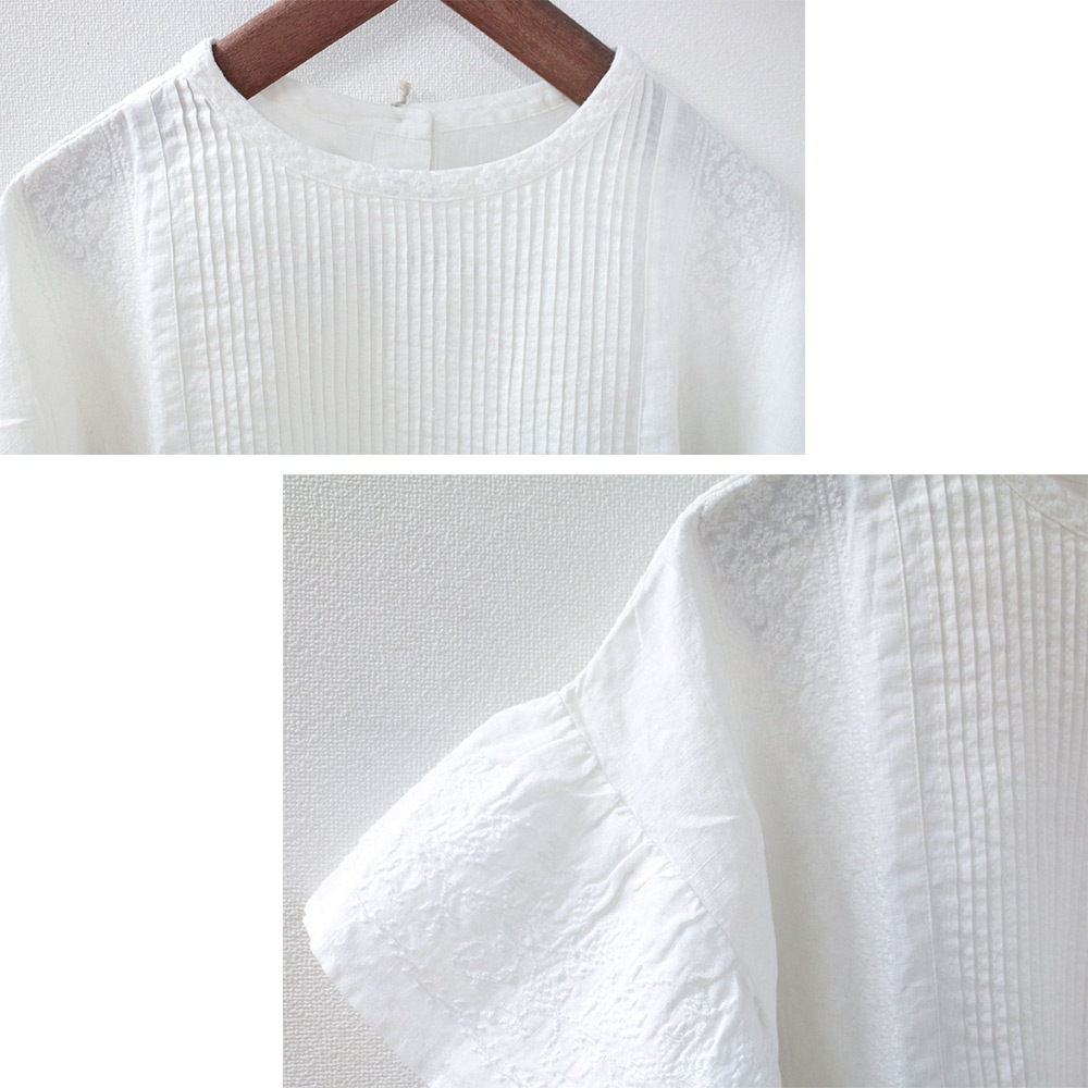 YARRA(ヤラ)リネン クロスステッチ刺繍ブラウス