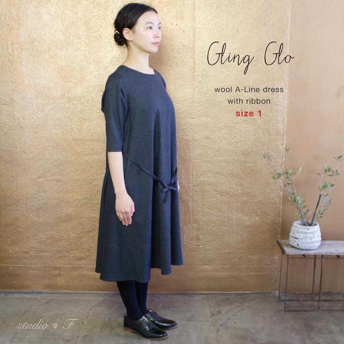 【サイズ「1」】 Gling Glo(グリン・グロー)  ライトウール ボートネックAラインワンピース [Light wool boat neck A-line one-piece dress, size 1]