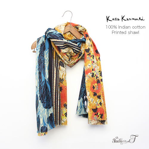 "Kusa Kanmuri(クサカンムリ) コットンストール 「さんふらわー ごーるど」 [Indian cotton stole ""Sunflower gold""]"