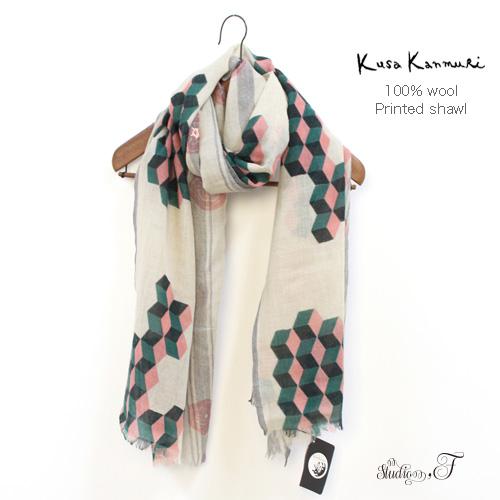 "Kusa Kanmuri(クサカンムリ) ウール プリント×刺繍ストール 『かぜのすがた』 [Wool stole ""Appearance of wind""]"