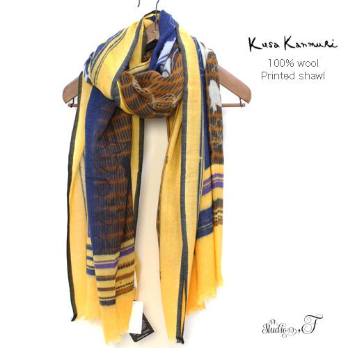 """Kusa Kanmuri(クサカンムリ) ウール プリントストール『がくぶちのすいそう』 [Wool stole """"Aquarium of the picture frame""""]"""