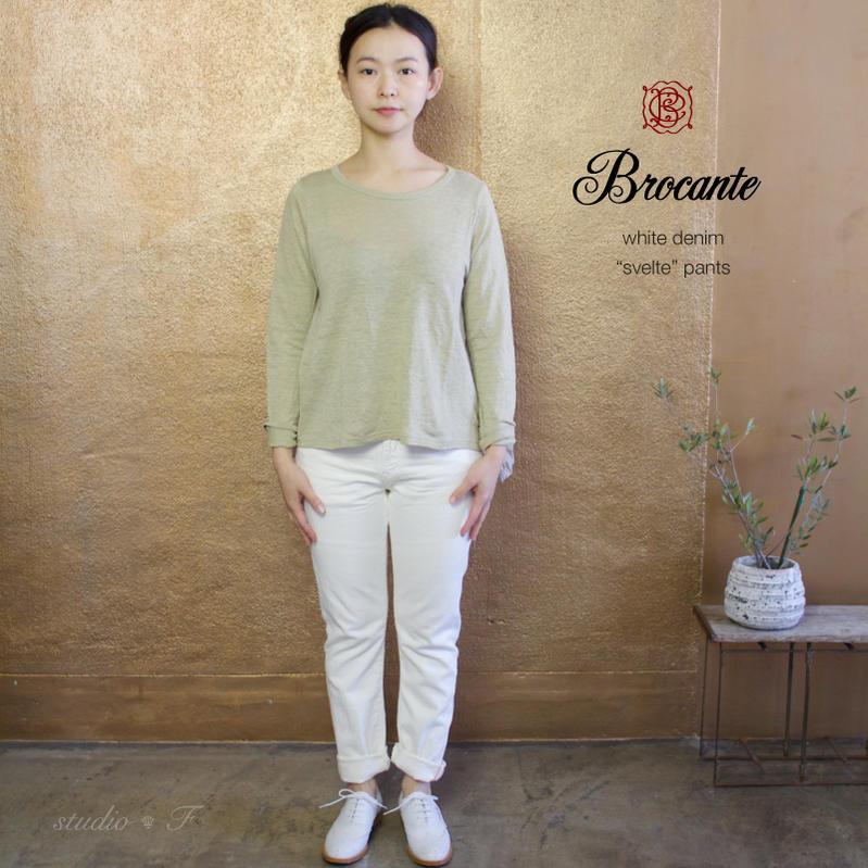 Brocante(ブロカント ブロカンテ) D.M.G ドミンゴ DMG  ホワイトデニムストレッチ 5Pスヴェルトパンツ  33-093K [White denim stretch 5P svelte pants]