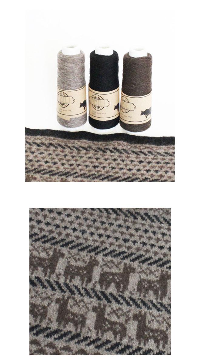 ◆編み図と糸のセット◆ヤク100%手芸糸『Meili(メイリ) 編み込み模様 アルパカ柄モチーフマルチクロス』編み図と糸のキット