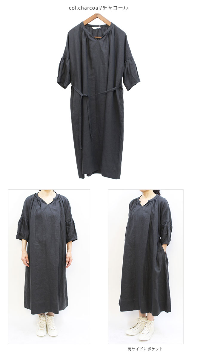 【サイズ「Free」】 Gling Glo(グリン・グロー) リネン ギャザースリーブワンピース [Linen Gathers one-piece dress, size Free]