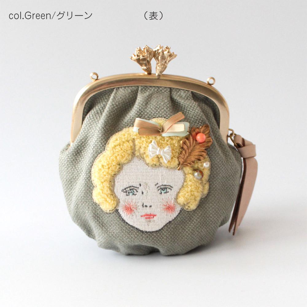 SAKURAYAMA  刺繍 ヴィンテージパーツ  ドールがま口(M)  G124-GY