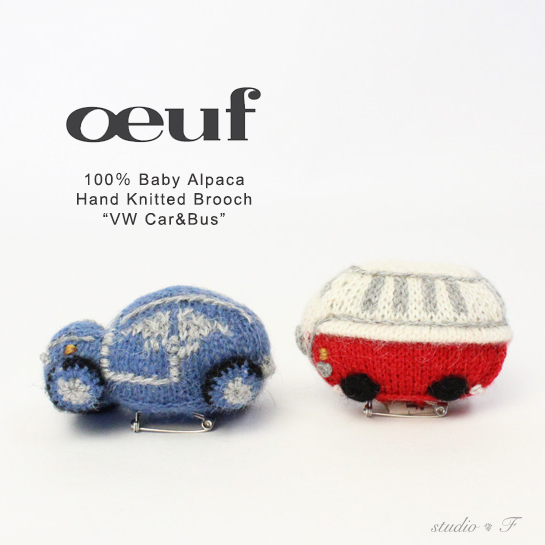 【Oeuf(ウフ)】oeuf be good NYC<br>WV バスと車のモチーフ ブローチセット「VW BUS」