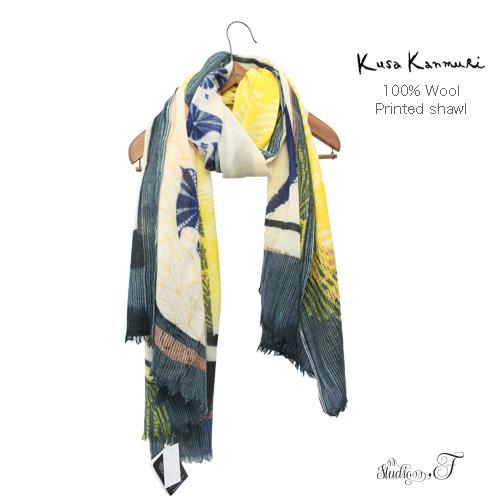 """Kusa Kanmuri(クサカンムリ) ウールストール 「きんいろのたからもの」 [Wool stole """"Gold treasure""""]"""