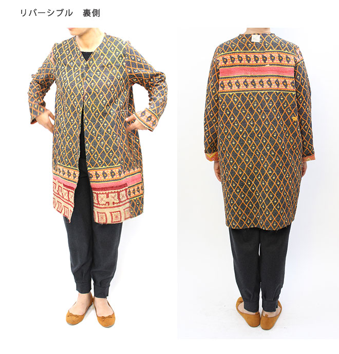 yantra bunai カンタ刺繍  No collar COAT(ノーカラーコート)[Kangta embroidered No collar COAT]