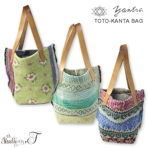 yantra bunai カンタ刺繍 TOTO BAG(トートバッグ)プチサイズ ポケット付き [Kangta embroidered TOTO BAG]