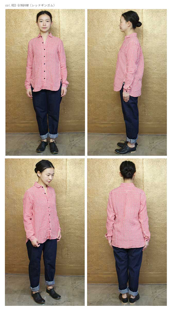 GARMENT REPRODUCTION OF WORKERS (ガーメント リプロダクション オブ ワーカーズ) リネン ギンガムチェック 丸襟シャツ<br>「ROUND COLLAR SHIRTS 」