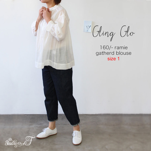 【サイズ「1」】  【SALE 60%OFF ¥16000➡\6400】「Gling Glo(グリン・グロー)」 160番ロイヤルラミー リボンブラウス [160th count royal lamy ribbon blouse, size 1]