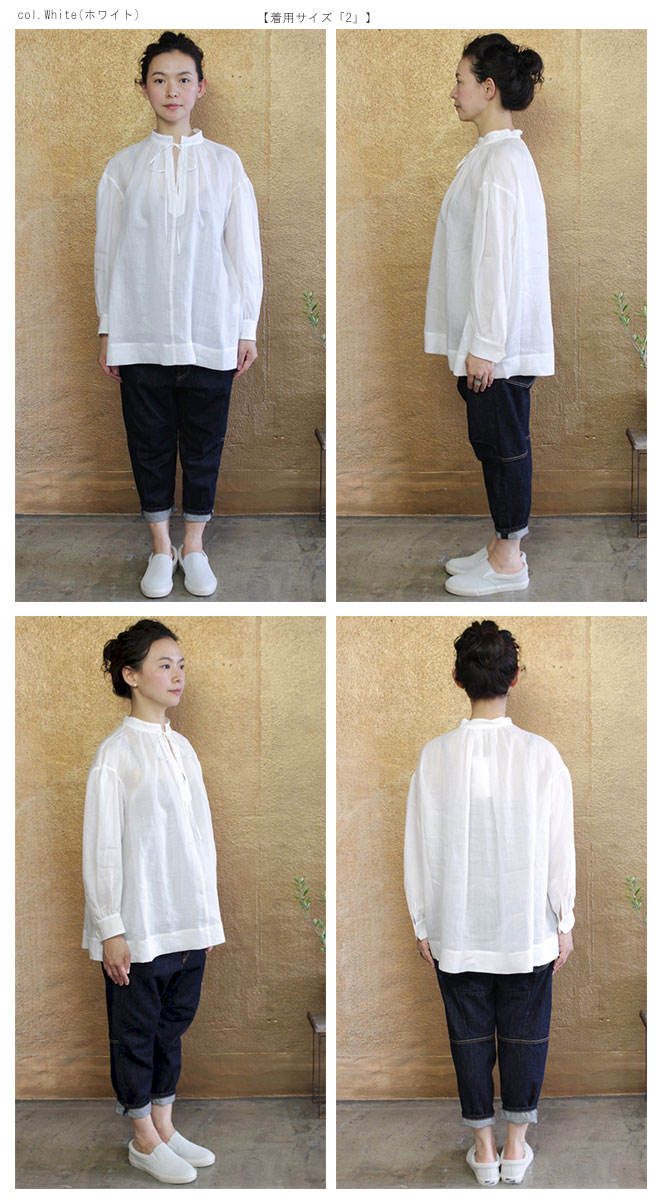 【サイズ「2」】  【SALE 60%OFF¥16000➡\6400】「Gling Glo(グリン・グロー)」 160番ロイヤルラミー リボンブラウス [160th count royal lamy ribbon blouse, size 2]