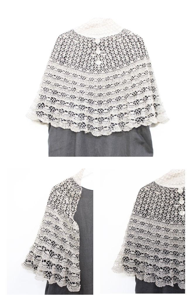 リネン100%手芸糸  『FEEL(フィール) 半円ショール』編み図と糸のキット [Linen semicircle shawl,knitting pattern and yarn kit]