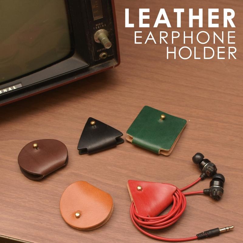 メッセージ 名入れ 刻印付き ヌメ革 丸 三角 四角 イヤホンコードホルダー レザー コードホルダー USB 充電器