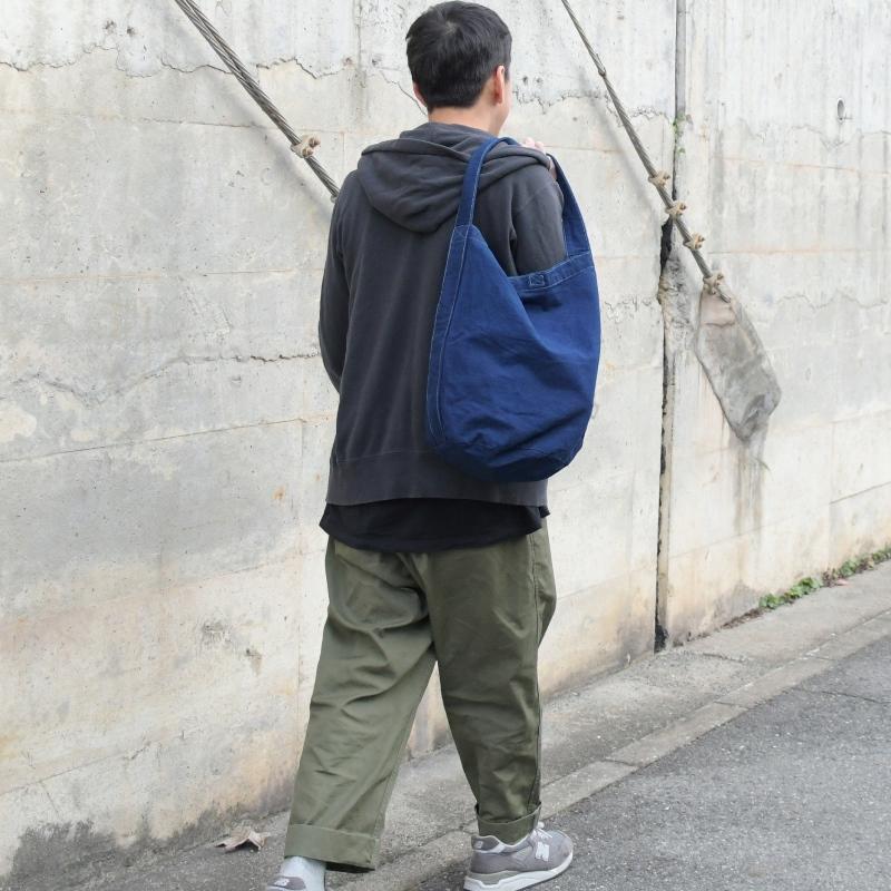 藍染め キャンバス バケット バッグ トートバッグ ワンショルダーバッグ 円柱 筒型 メンズ レディース コットン 濃紺 ネイビー