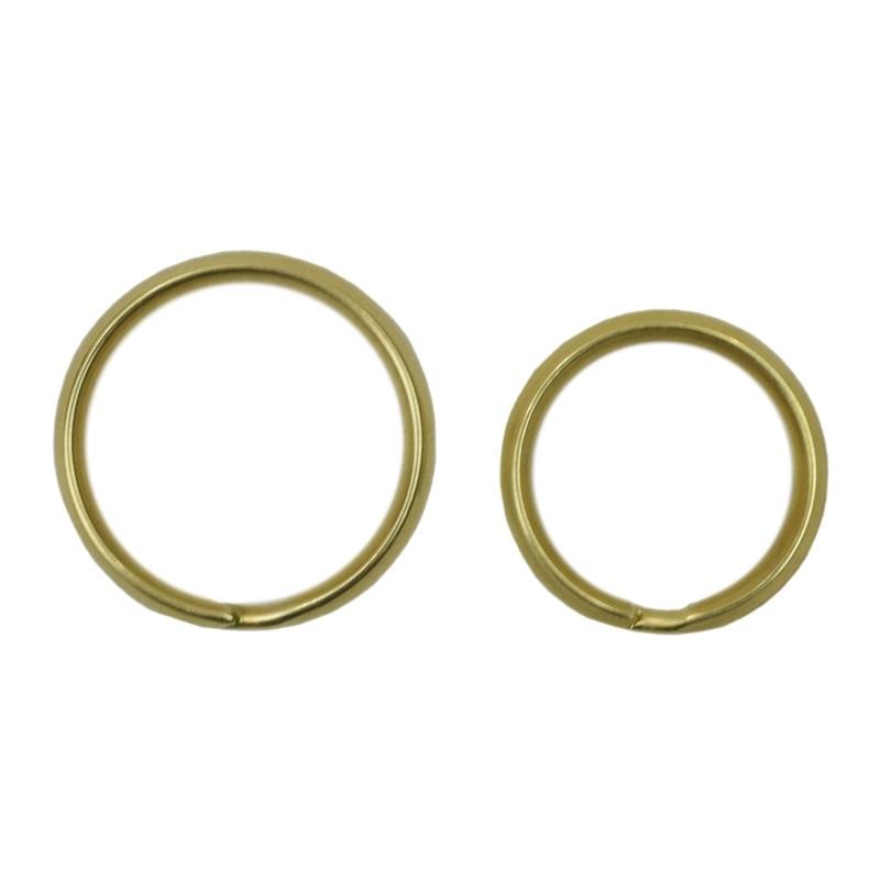 真鍮 二重キーリング キーホルダー パーツ 二重リング 山切り 無垢 生地 金色 2サイズ 外径 30mm 25mm