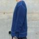 メンズ 藍染め クルーネック スウェット トレーナー 長袖 丸首 裏毛 コットン 綿 濃紺