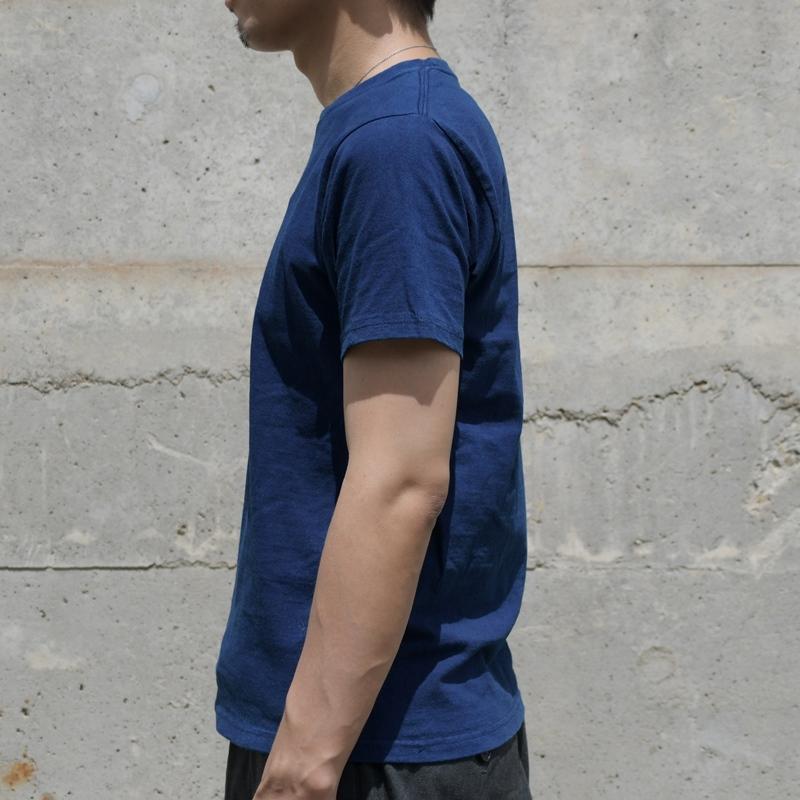 メンズ 藍染め 半袖 Tシャツ コットン 肉厚 アメカジ 濃紺 綿 シンプル