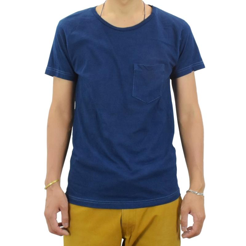 藍染め ポケットTシャツ 半袖 薄手 着心地 コットン メンズ スリム 濃紺 ネイビー