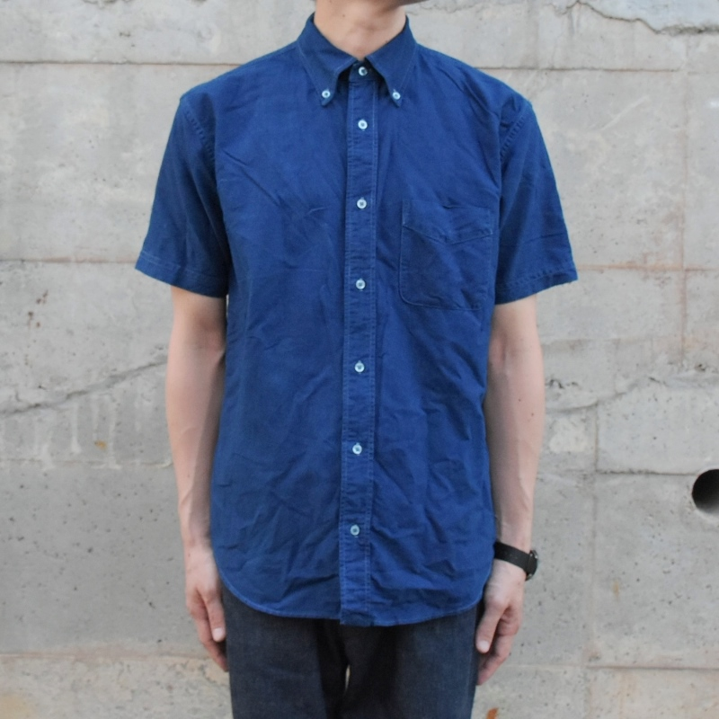 メンズ 藍染め ボタンダウン 半袖 オックスフォードシャツ shirt コットン 綿 クールビズ 濃紺 ネイビー