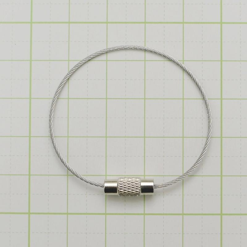 ワイヤーリング ネジ式 ステンレス キーホルダー キーリング パーツ DIY 鍵 ネームホルダー レザークラフト 金具