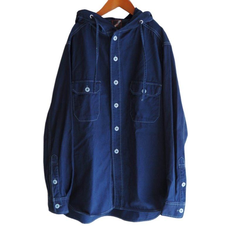 メンズ 藍染め 長袖 シャツパーカー ツイル お洒落 可愛い コットン フード