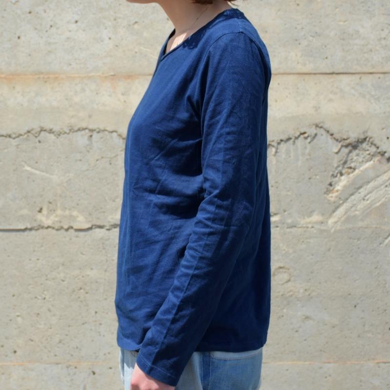 レディース 藍染め ロングスリーブ Tシャツ ロンT 長袖 濃紺 ネイビー 薄手 着心地 コットン 綿