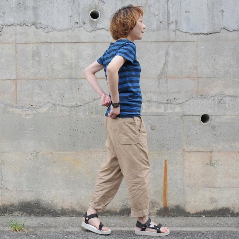 レディース 藍染め ボーダーTシャツ 半袖 ネイビー ブラック コットン 薄手 着心地