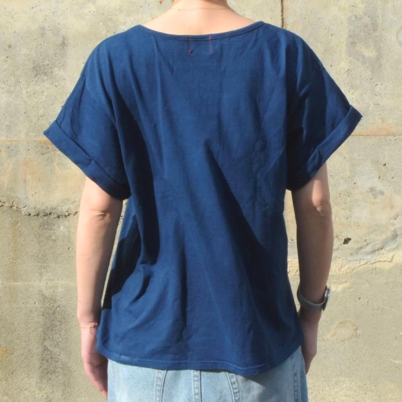 レディース 藍染め ロールアップ Tシャツ 半袖 ラフ ゆったり オーバーサイズ コットン 綿