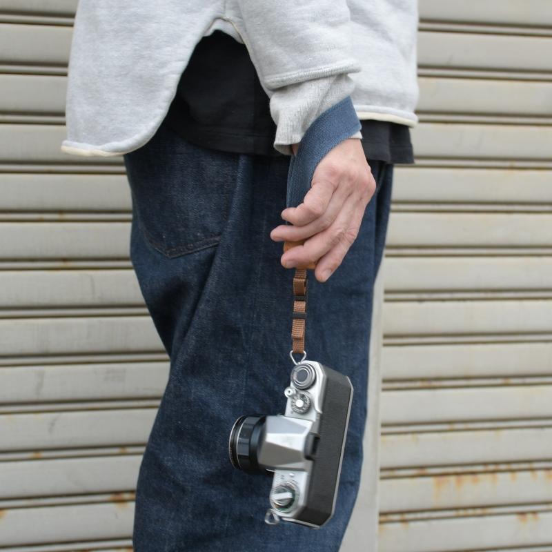 名入れ ヴィンテージ  ハンドカメラストラップ ヌメ革 コットン 綿 3サイズ セミオーダー オーダーメイド 刻印付