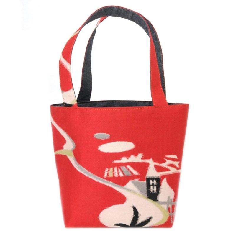 着物 ランチバッグ ミニトートバッグ 赤家 レトロ 和柄 BAG 和風 花柄 日本 japan